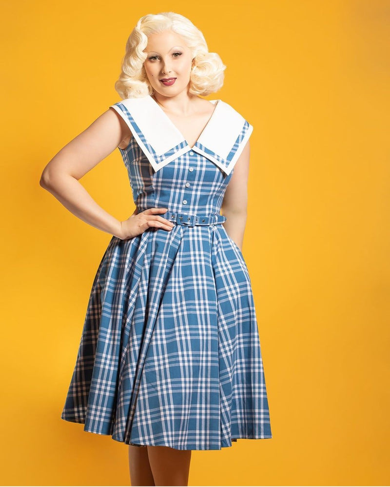 Daisy Dapper June Dress - Blue Check
