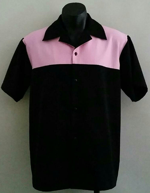 SALE!! Lenny's Custom Clothing - 50's Pink and Black Mens Quater Panel Shirt