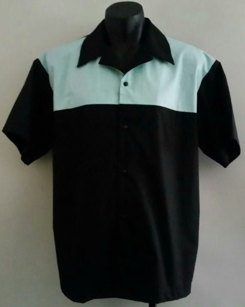 SALE!! Lenny's Custom Clothing - 50's Mint Green and Black Men's Quater Panel Shirt