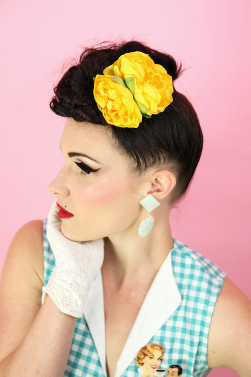 Brookleigh Hair Flower - Small Yellow Double