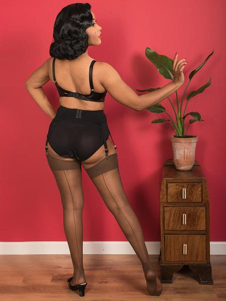 What Katie Did Glamour Seamed Stockings - Coffee