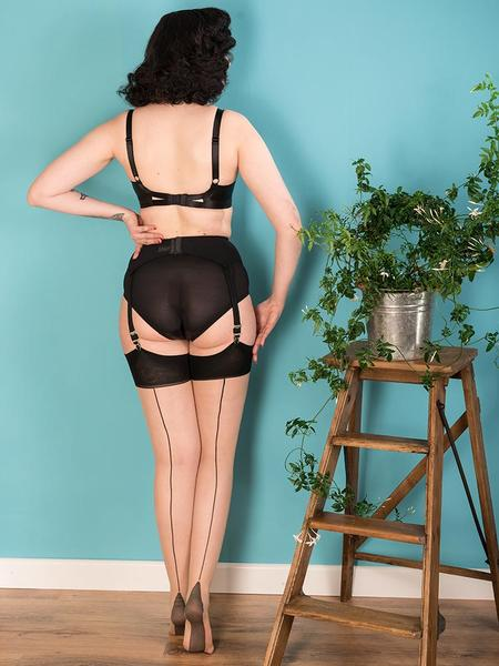 What Katie Did Glamour Seamed Stockings - Black