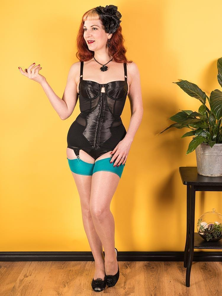 What Katie Did Glamour Seamed Stockings - Teal