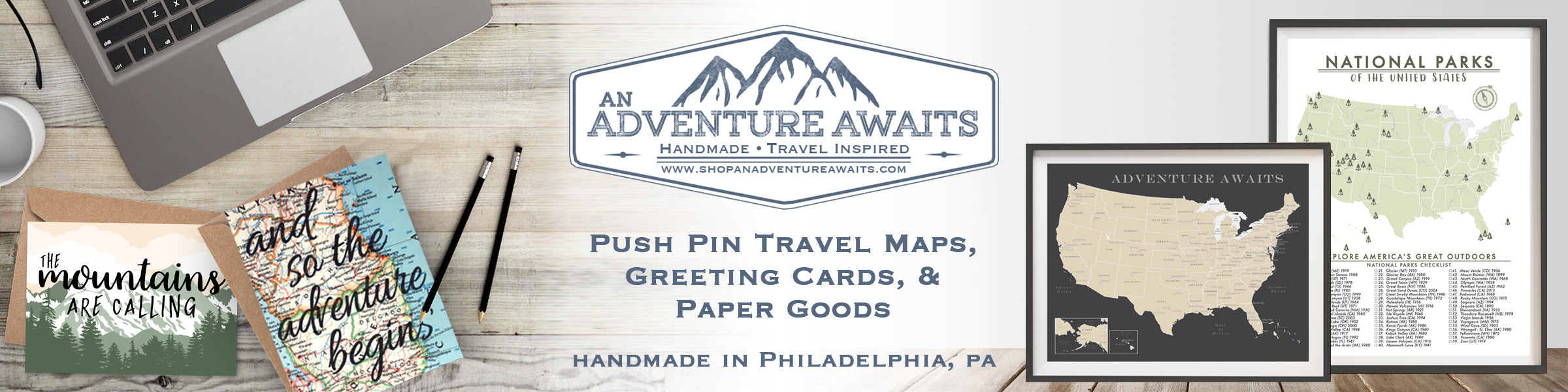 Push Pin Travel Maps Greeting Cards Paper Goods & Gifts.  Handmade in Philadelphia, PA