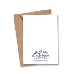 and so the adventure begins world print greeting card back logo