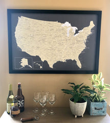 detailed usa map charcoal and beige styles with frame in home