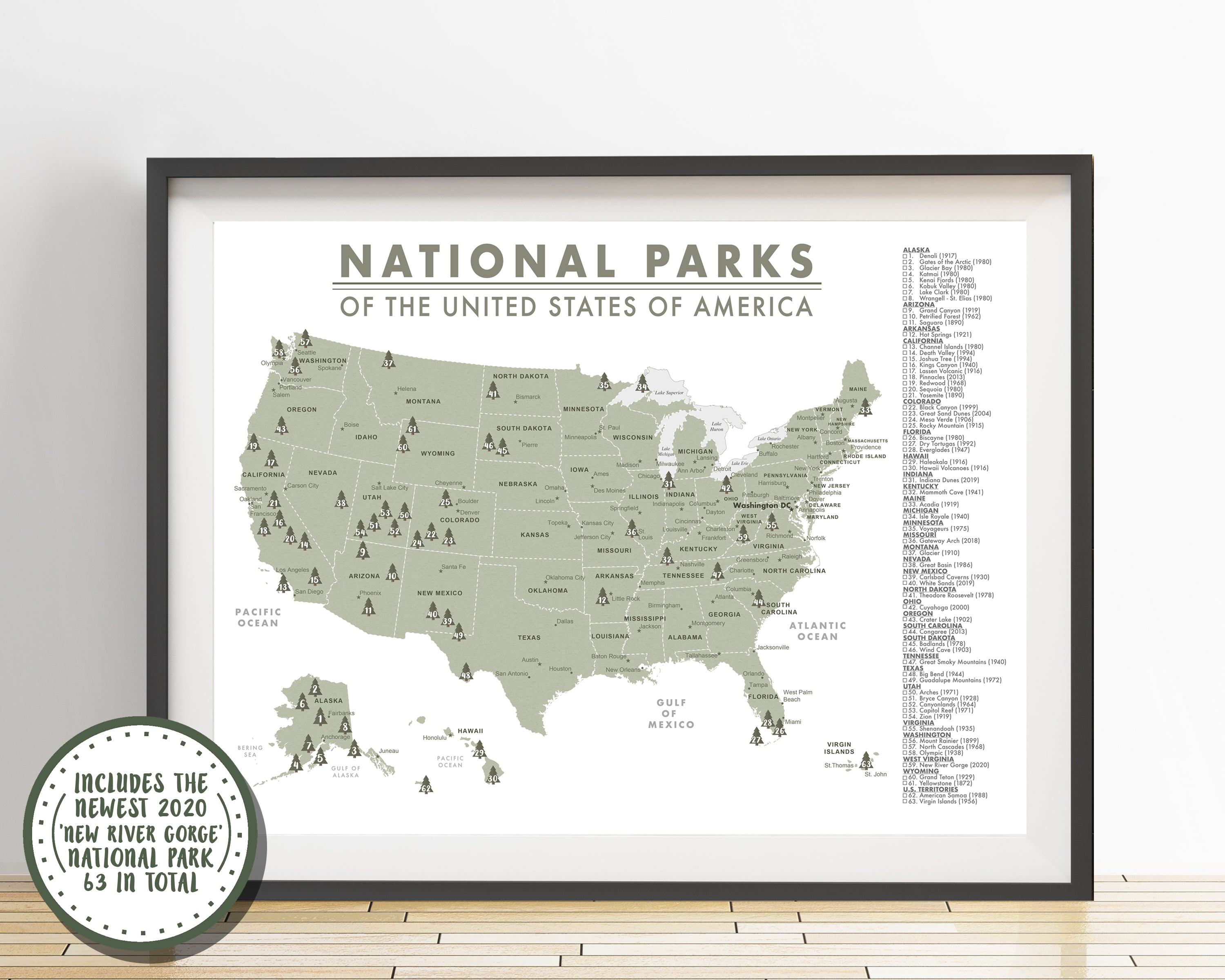 Detailed National Parks Map of the United States - 63 Parks