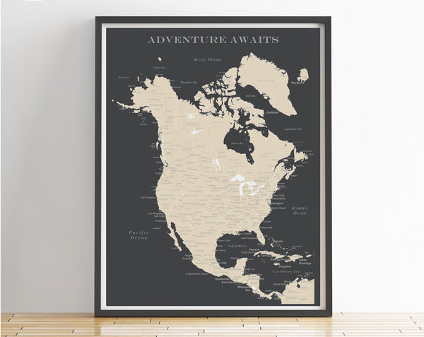 North America Map Poster - Charcoal Grey