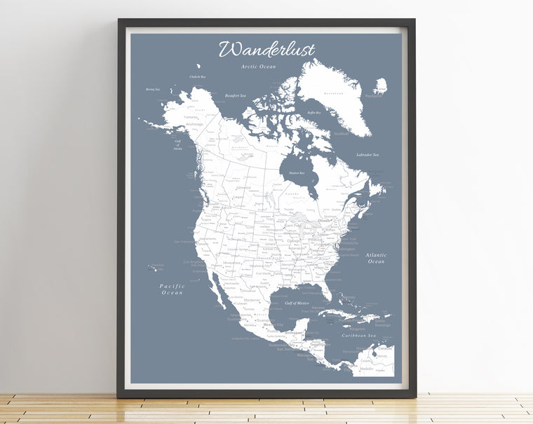 North America Map Poster - Slate Blue