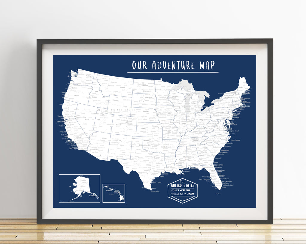 USA Map Poster Dark Blue An Adventure Awaits LLC - United states map picture frame