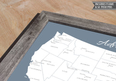 Framed USA Push Pin Map - Slate Blue