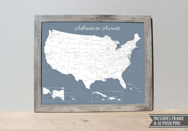 Framed Usa Push Pin Map Slate Blue An Adventure Awaits Llc - Us-pin-map