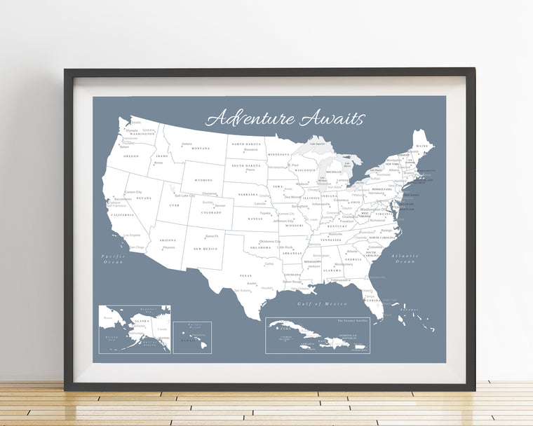 USA Map Poster - Slate Blue