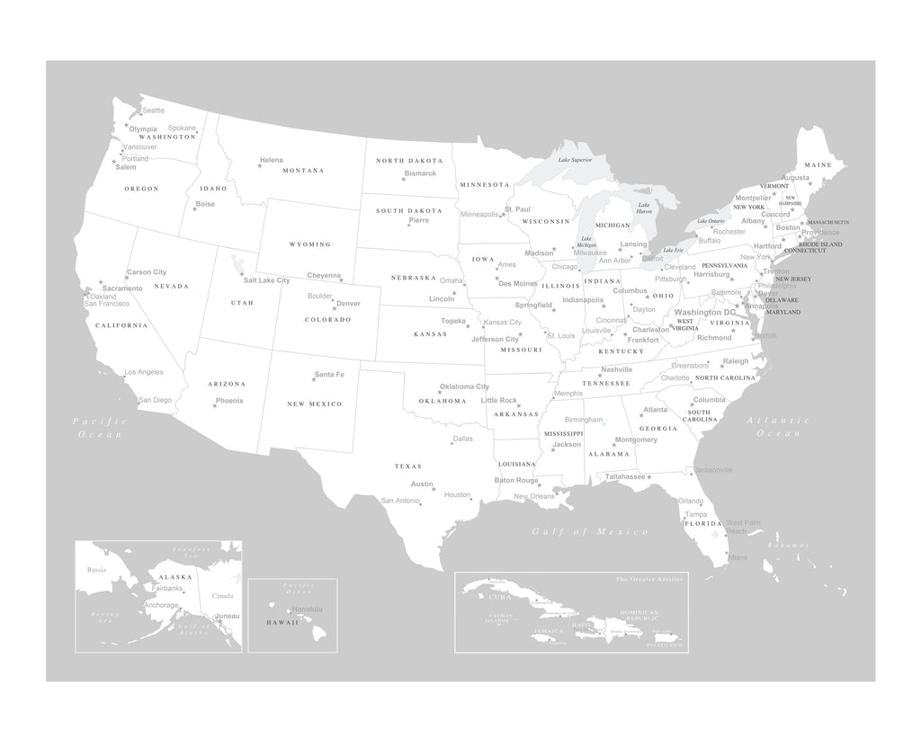 Poster Of Usa Map.Usa Map Poster Light Gray An Adventure Awaits Llc