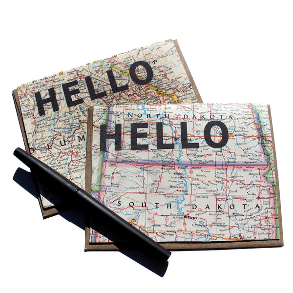 'Hello' Vintage Map Greeting Card
