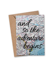 'and so the adventure begins' Vintage Map Greeting Card