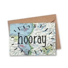 'hooray' Vintage Map Greeting Card