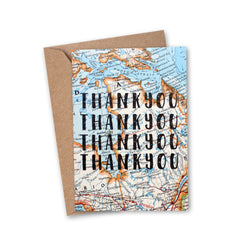 'Thank You Thank You' Vintage Map Greeting Card