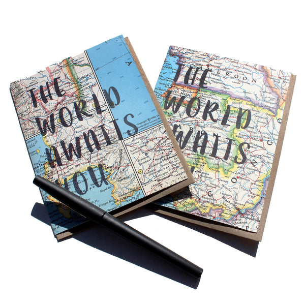 'The World Awaits You' Vintage Map Greeting Card