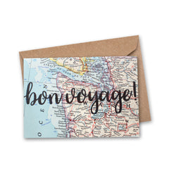 bon voyage greeting card hand lettered printed on vintage map