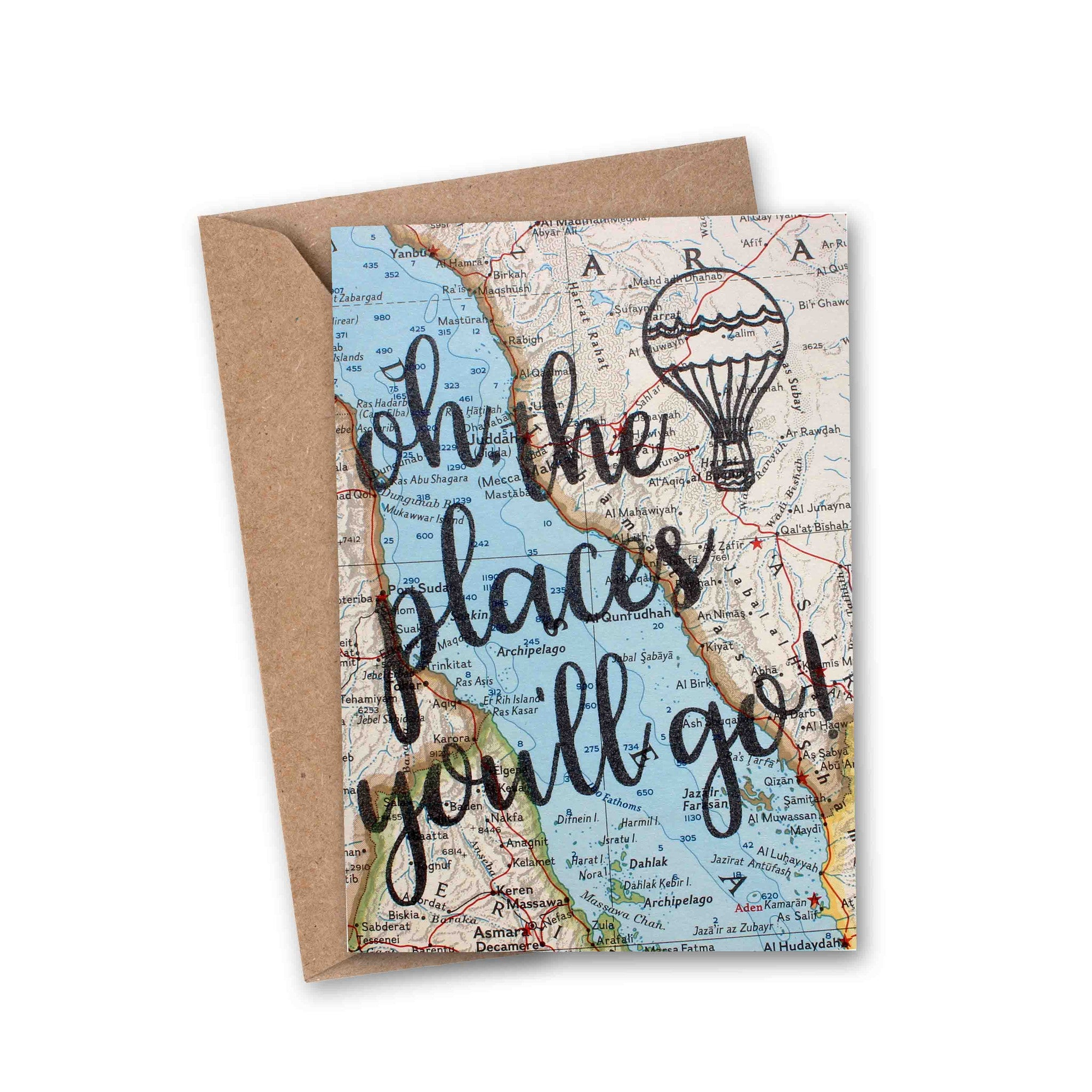 'Oh, the places you'll go!' Vintage Map Greeting Card