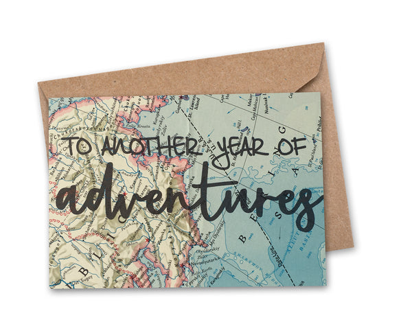 'to another year of adventures' Vintage Map Greeting Card