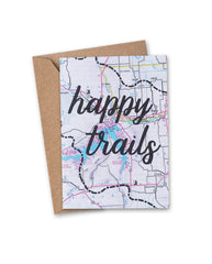 'happy trails' Vintage Map Greeting Card