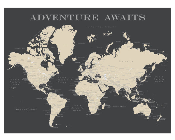 World Map Poster - Charcoal Grey