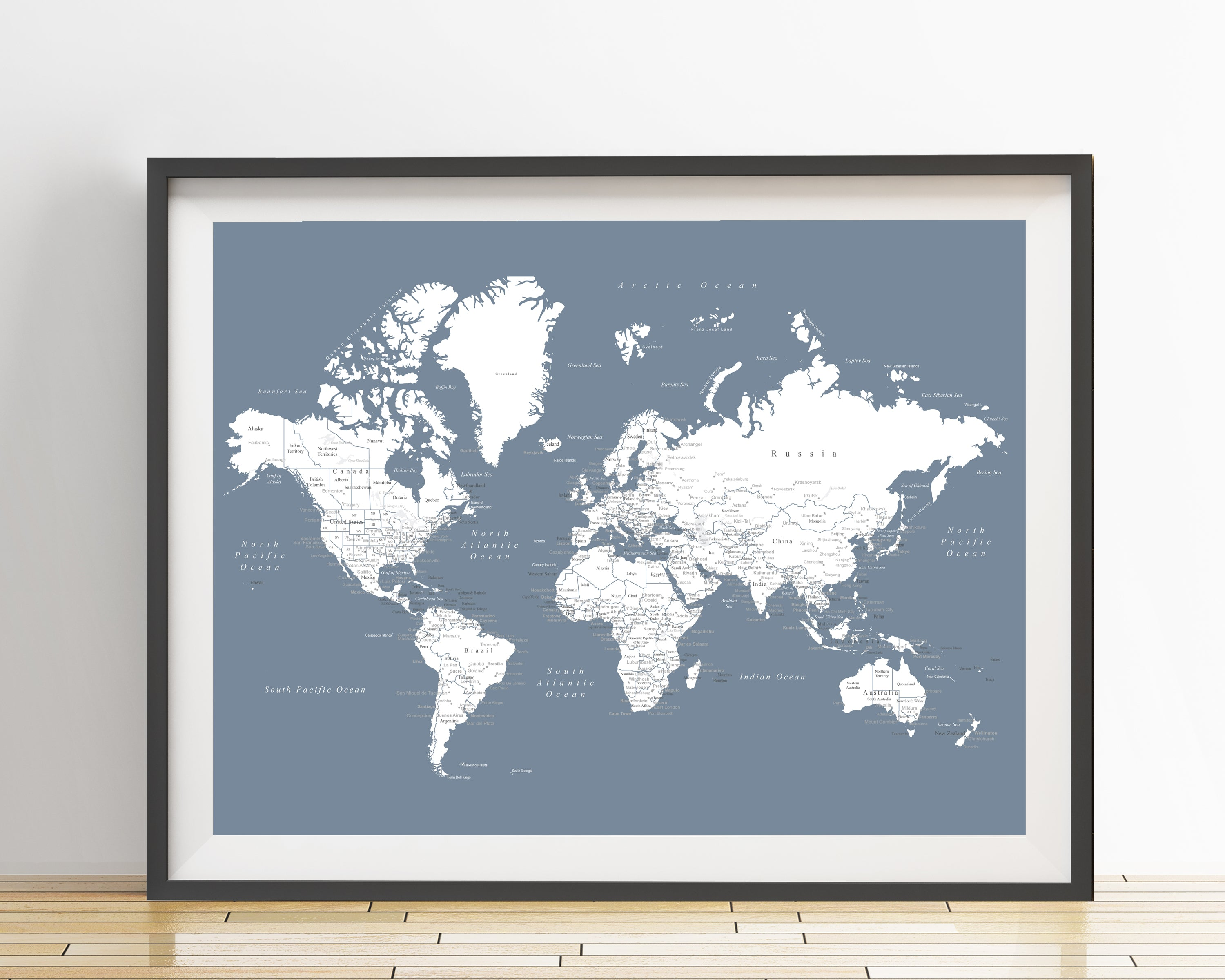 World map poster slate blue an adventure awaits world map poster slate blue gumiabroncs Choice Image