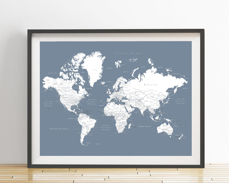 World Map Poster - Slate Blue