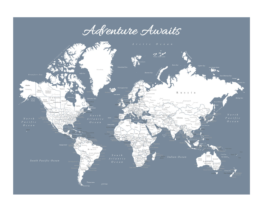 World map poster slate blue an adventure awaits world map poster slate blue sciox Choice Image