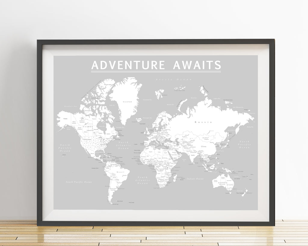 World map poster light gray an adventure awaits llc world map poster light gray gumiabroncs Choice Image