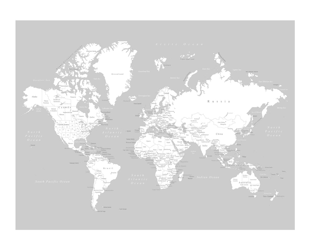 World map poster light gray an adventure awaits llc world map poster light gray gumiabroncs Image collections
