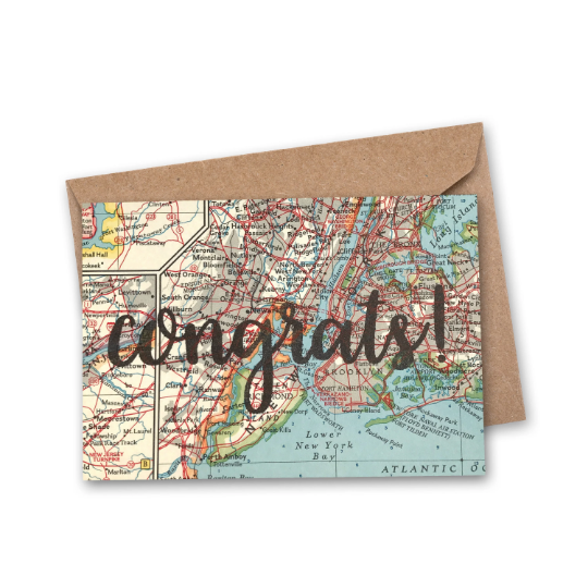 'congrats!' Vintage Map Greeting Card