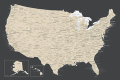detailed usa map poster charcoal and beige