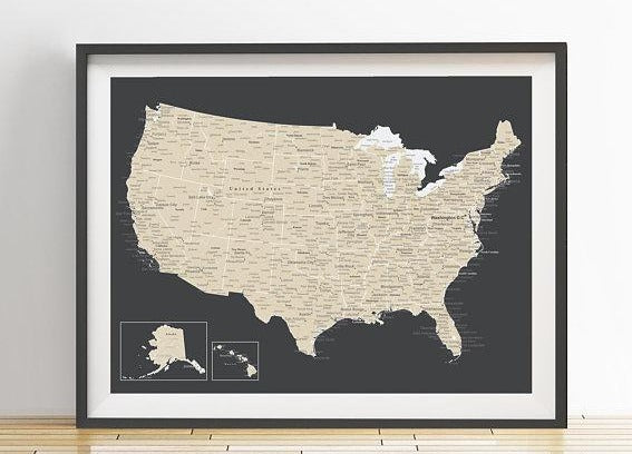 detailed usa map charcoal and beige styled with frame