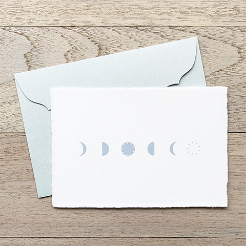 "Japanese ""WASHI"" greeting card / moon phases"