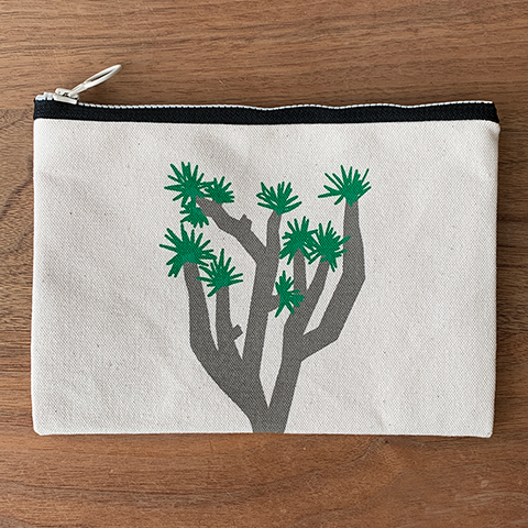 Joshua Tree, California Handmade zip canvas pouch