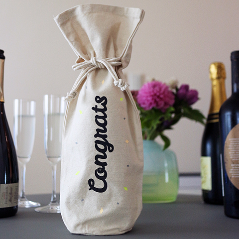"Hand Screen Printed Canvas Wine Bag ""Congrats"""