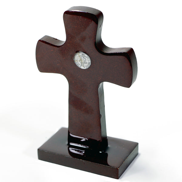 St. Benedict Cross Wood with Stand XXS