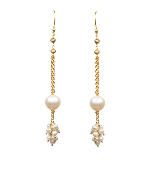Double Pearl Dangle Vermeil Earrings