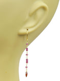 Garnet Linear Vermeil Earrings