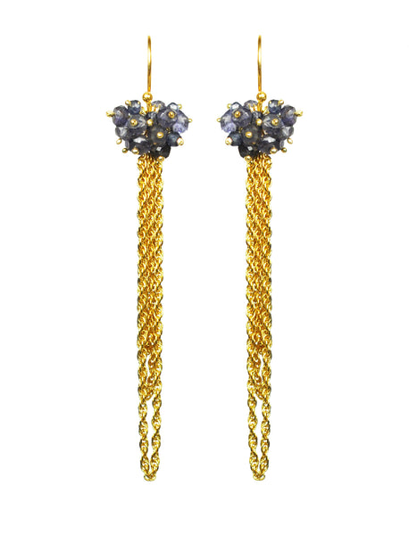 Iolite Cluster Tassel Vermeil Earrings