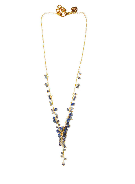 Cascading Iolite Cluster Necklace