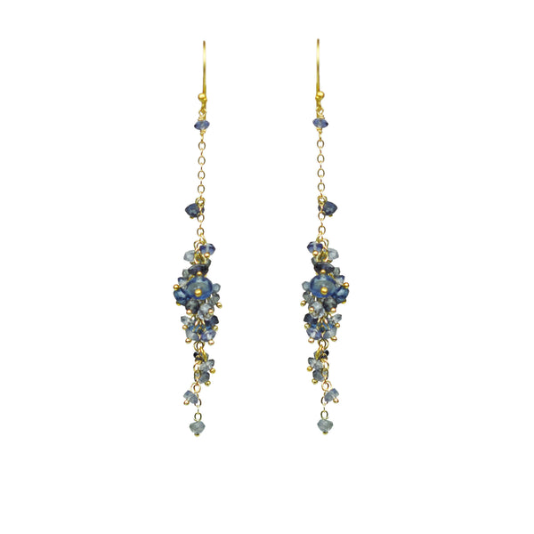 Iolite Cascading Cluster Earrings