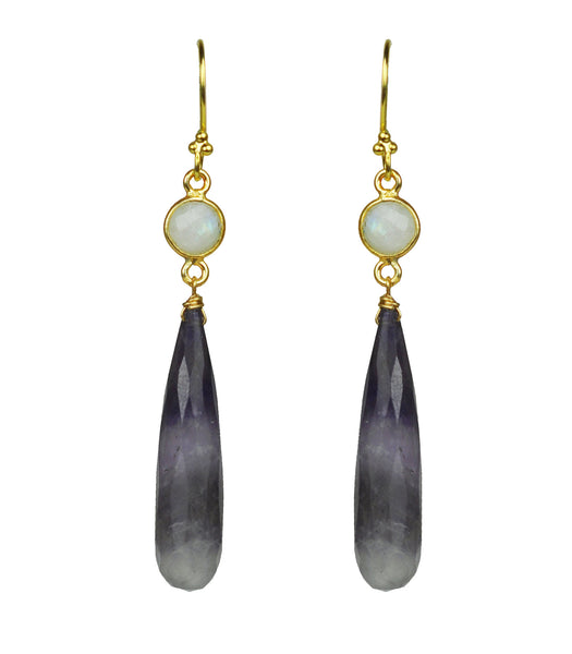 Moonstone Amethyst Vermeil Earrings