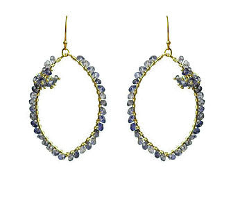 Iolite Wrapped Cluster Vermeil Earrings