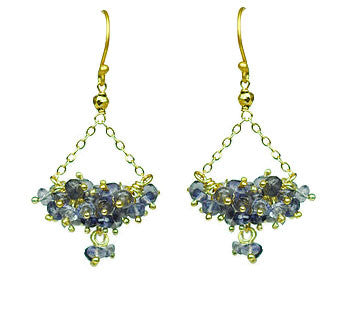 Iolite Cluster Chandelier Vermeil Earrings