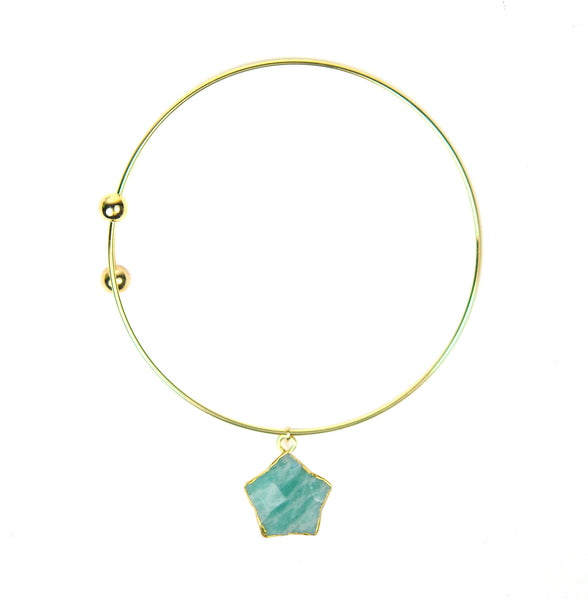 Amazonite Star Charm Adjustable Bracelet