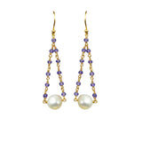 Amethyst Pearl Pendulum Vermeil Earrings